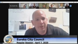 Sgt. Leonard La France speaking at a virtual Eureka City Council meeting