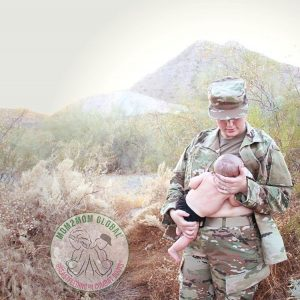 Mom breastfeeding in uniform